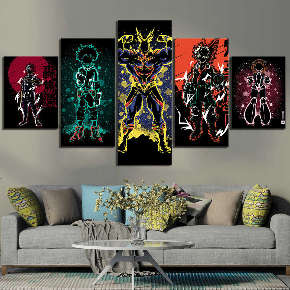 Modulaire Hd Prints Picture Home Decoration 5 Panel Mijn Hero Academia Anime Schilderijen Canvas Poster Wall Art Voor Woonkamer frame