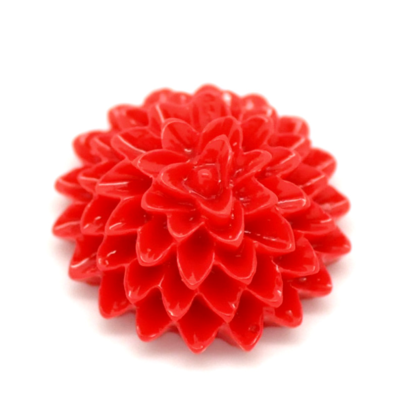 Wedding Flowers In Resin: 50Pcs Red Resin Flower Embellishments Flatback Cabochon