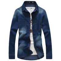 2017 Blue Mens Denim Shirt New Fashion Business Casual Men Long Sleeves Tops Hot Selling Popular