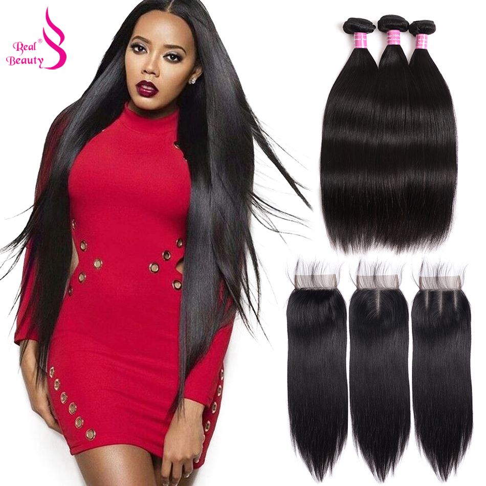 Real Beauty Straight Human Hair Bundles With Closure 3 Bundles Brazilian Hair Bundles With Middle Free
