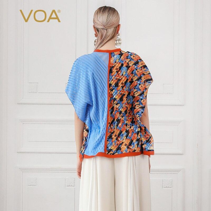 VOA soie Georgette surdimensionné T Shirt femmes impression 3D dames hauts lâche manches chauve souris T Shirt décontracté été Boho grande taille O cou B620 - 2