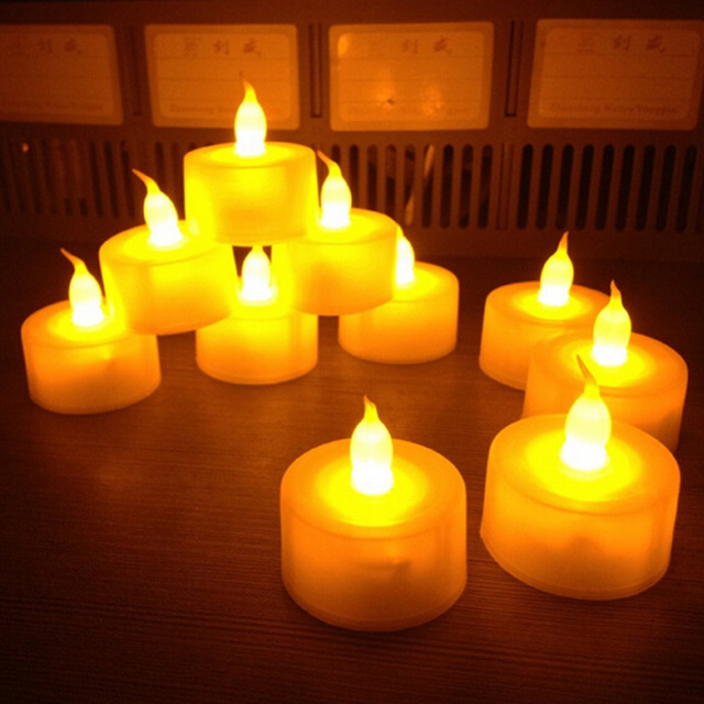 New Flickering 12 Pcs Flicker Light Flameless Led Candle Tealight Tea  Candles Wedding Light Table Lamps