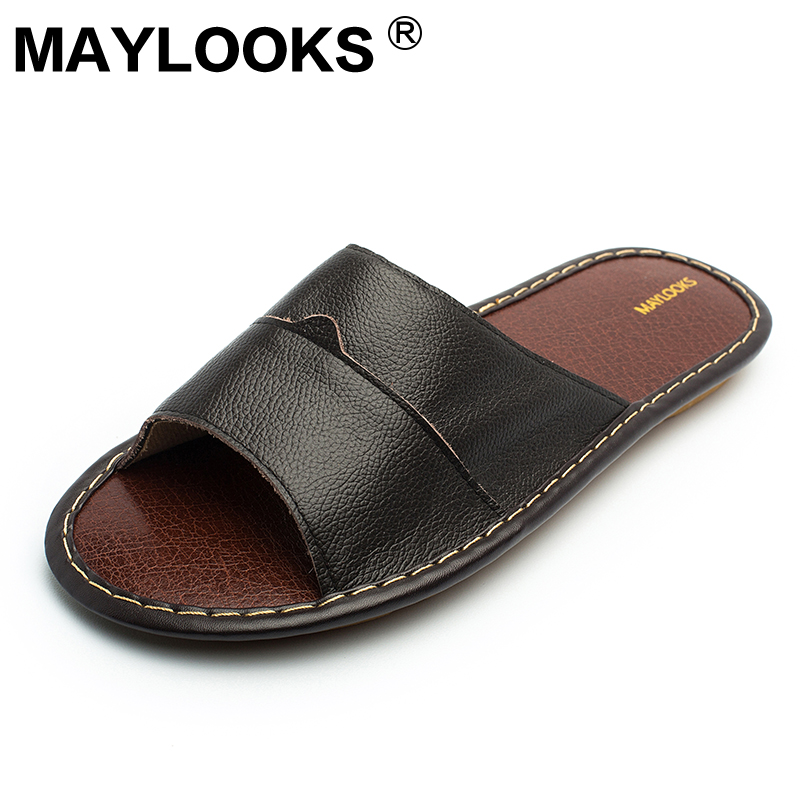 Men's Slippers Spring And Summer genuine Leather Home Indoor Slip - Men's Shoes - Photo 2