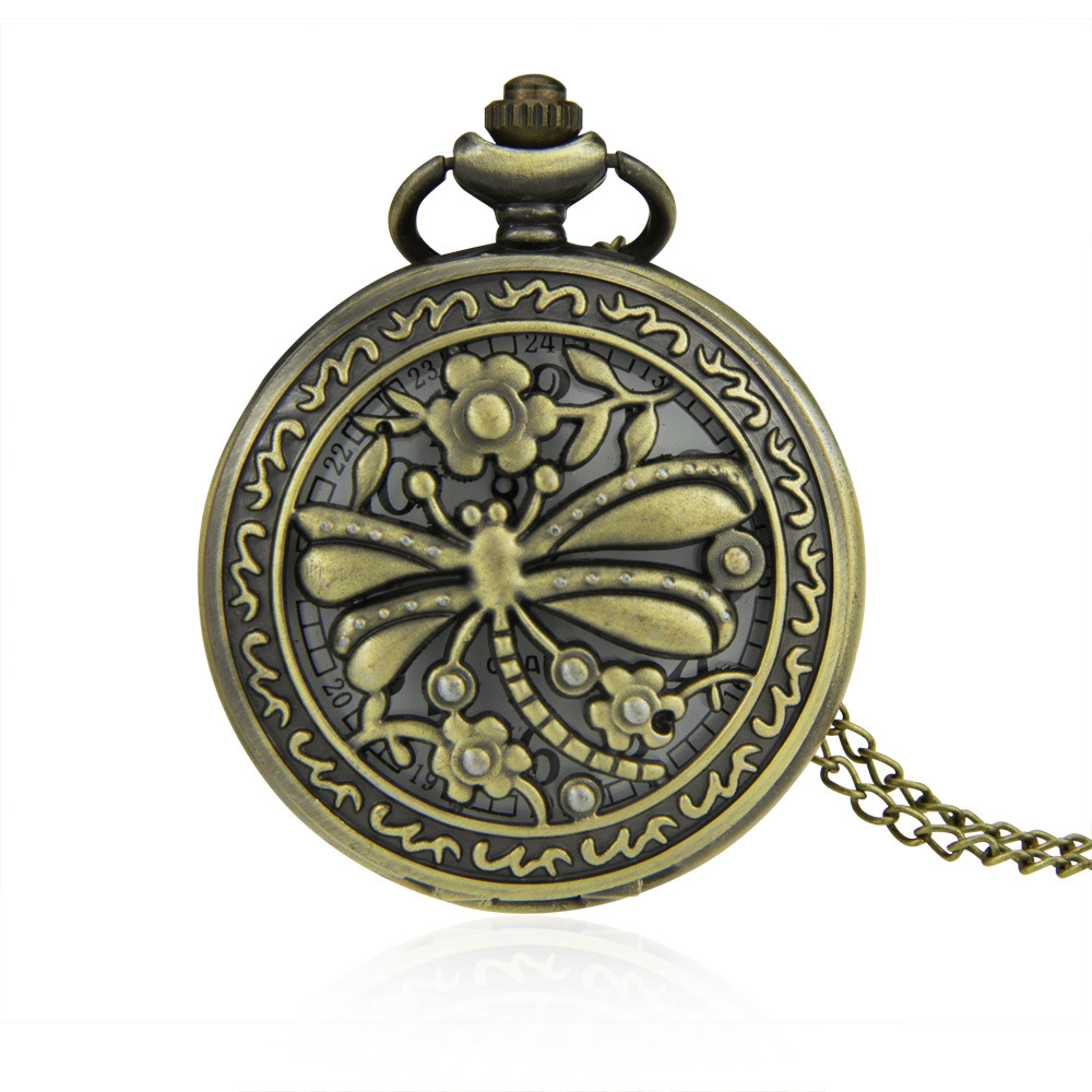 Pocket Watch Zinc Alloy with Glass Flat Round antique bronze color plated