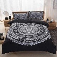 Adult Boho Bedding Set Black White Flower Duvet Cover  Universe Bed Vintage Gemstone Bohemia Quilt And Pillowcase