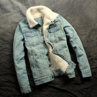 New Autumn And Winter 2016 Men S Fashion Boutique Wool Warm Thickening Leisure Denim Jacket Coat