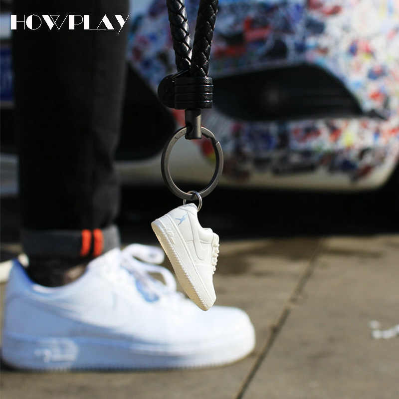 official photos a7334 2e172 ... Howplay mini force toys 3D sneakers keychain basketball shoes model  backpack pendant keyring creative gift for ...