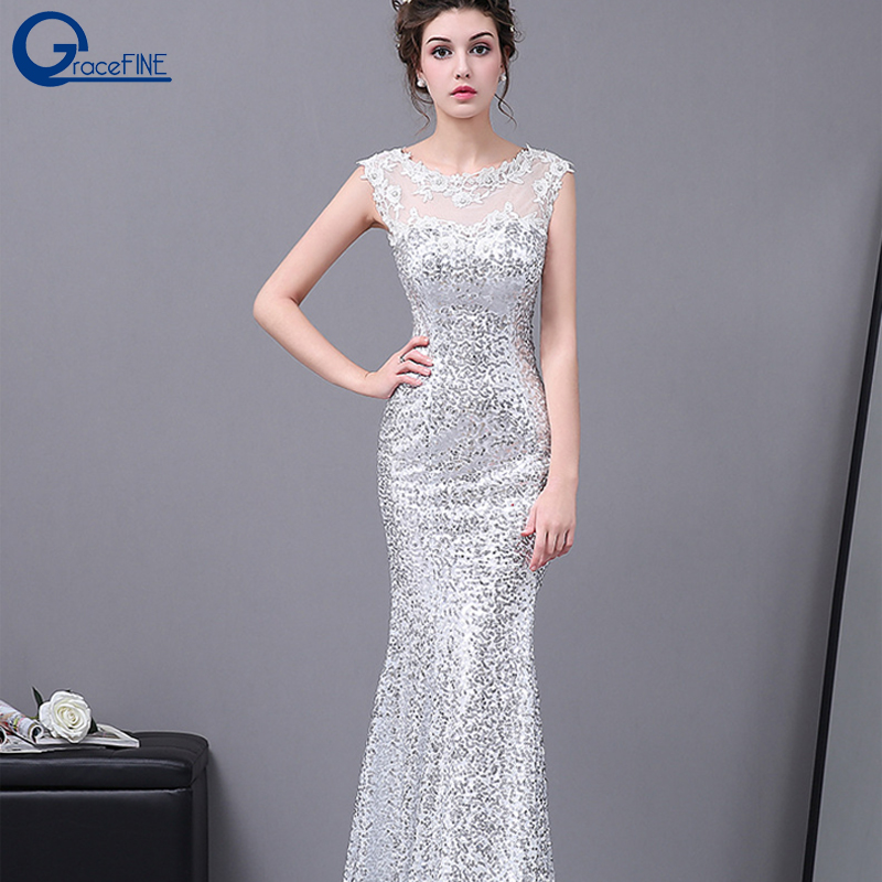 Sequins Long Fishtail White Lace Dress Skinny Trailing Maxi Dress Ladies Dinner Party Festival Clothes Prom Host Show Costume