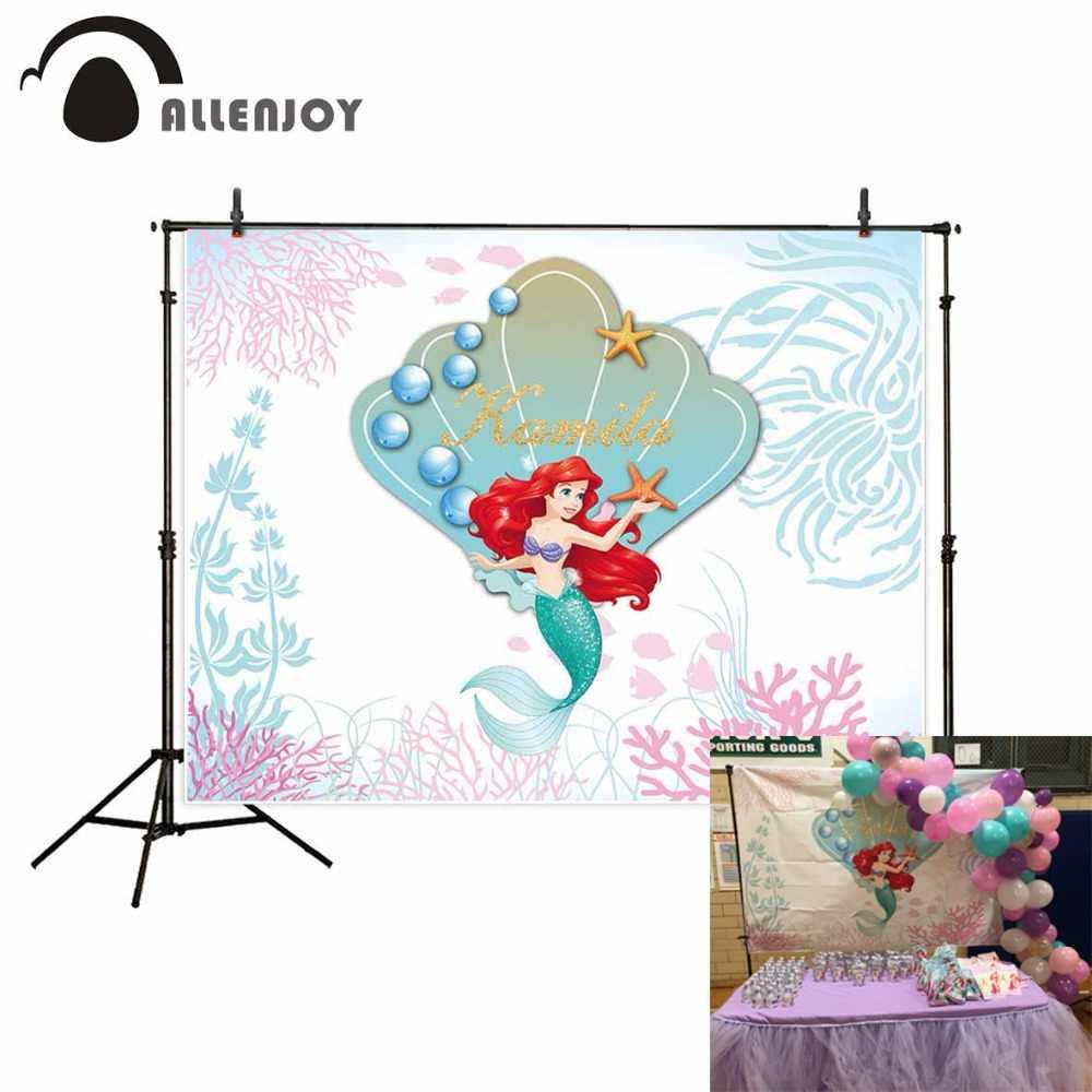 Funnytree 生地写真撮影の背景漫画の海シェル魚海藻子アリエルの誕生日