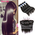 Spring Queen Hair Filipino Straight Hair 4 Bundles with Closure 10A Rosa Hair Products with Closure 13x4 Lace Frontal Closure