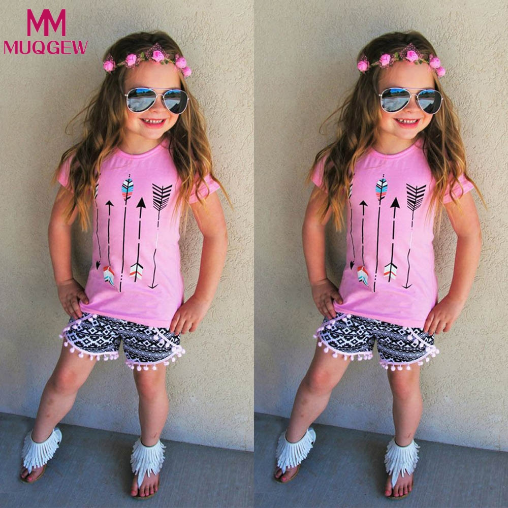 MUQGEW Toddler Girls Summer Clothing Set 2018 Kids Clothes Sets Printed Tops T-shirt+Tassel Pants 2Pcs Roupas Infantis Menino 2017 kids clothes costumes for girls spring full sleeve clothing sets roupas infantis menina children t shirt denim pants set page 7