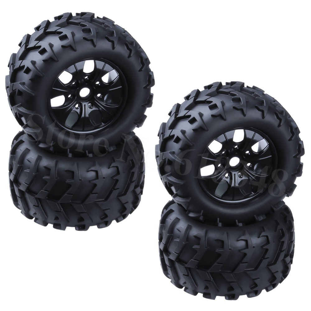 "4 Pieces 3.2 ""Tayar 150mm & Roda roda plastik RC 1/8 Monster Truck Rubber 17mm Hex Hub Mount For Off Road Tire"