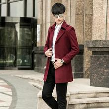 men's woolen coat clothing teenage wool coat mens medium-long plus size casual single breasted coats wine red outerwear S – 9XL