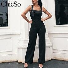 MissyChilli Black elegant skinny sexy jumpsuit Women fashion wide leg bodycon