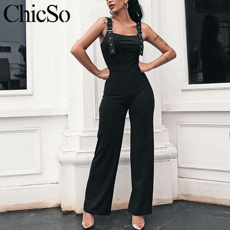 MissyChilli/черные элегантные женские комбинезоны без рукавов с широкими штанинами; сексуальный комбинезон; сезон лето-осень; вечерние длинные Комбинезоны; female2019