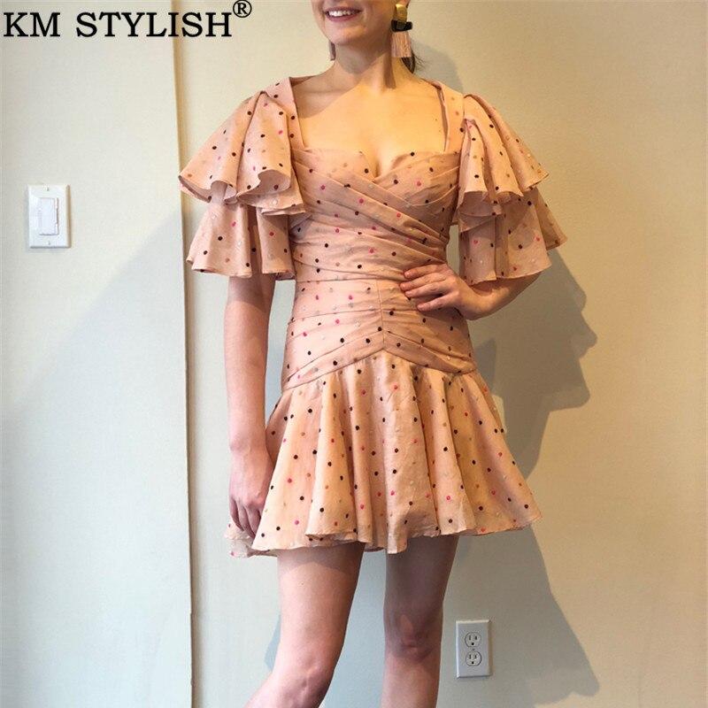 Marque de marée australienne Acler2019 nouvelles dames colorées à pois plissé à manches volantées Slim taille col carré robe bouffante