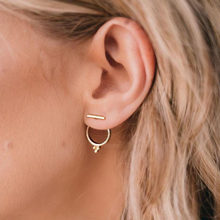 Minimalist Round Circle Three Dots Stud Earrings for Women Gold Color Geometric T Bar Earrings Fashion Piercing Friend Jewelry(China)