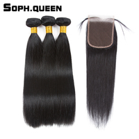 Soph Queen Straight Wave 3 Bundles With Closure Brazilian Non Remy Human Hair With Closure Hair