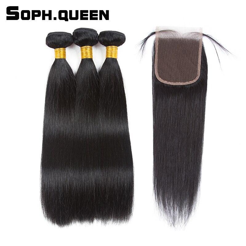 Soph drottning brasilianska Straight 3 Bundles With Closure Remy - Mänskligt hår (svart)