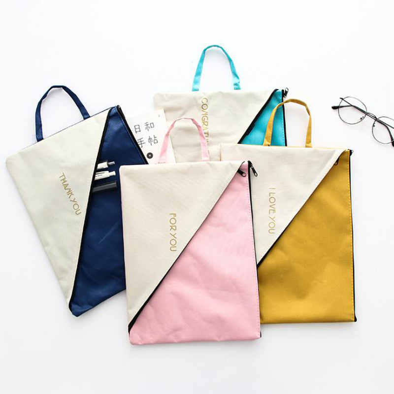 1 Pcs Portable A4 Canvas Double Layer Document Bags Paper Organizer File Folder Stationery Planner Large Capacity Zipper Bags