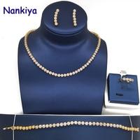 Nankiya Classic Cute Choker Wedding Jewelry Sets Flower Tennis Zirconia Paved Lady Jewelry 4pcs CZ Set For Dress Prom NC125