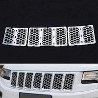 Chrome Silver ABS Inserts Honey Comb Mesh Grille Trim Grill For Grand Cherokee 2014 Car