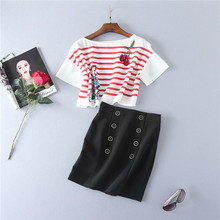 red and white stripe loose crop tops and black mini skirt sets 2 piece short sleeve blouses and double breasted skirts sets 2017