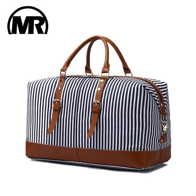 Markroyal 새로운 캔버스 대용량 패션 더플 백 여성용 위 켄더 오버 나이트 백 오버 사이즈 블루 스트립