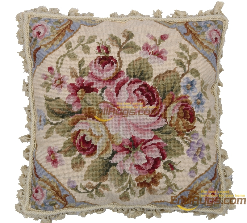 Needlepoint de lã decorativo sofá throw decoração interior almofada quadrada lã aubussion praça capa de almofada - 4