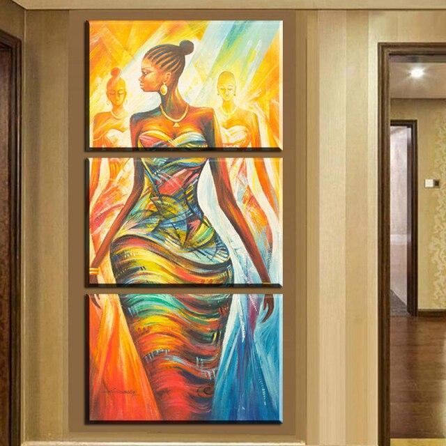 xh2237 3pcs canvas wall art prints modern abstract african women ...