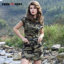 Short Dresses Military-Style Army Green Mini Sexy Fashion Women Summer Sleeveless Belt