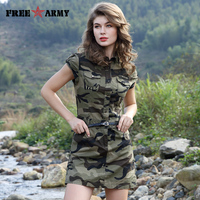 Women Summer Military Style Army Green Camouflage Sleeveless Belt Pocket Decoration Short Dresses Lapel Fashion Mini Sexy Dress