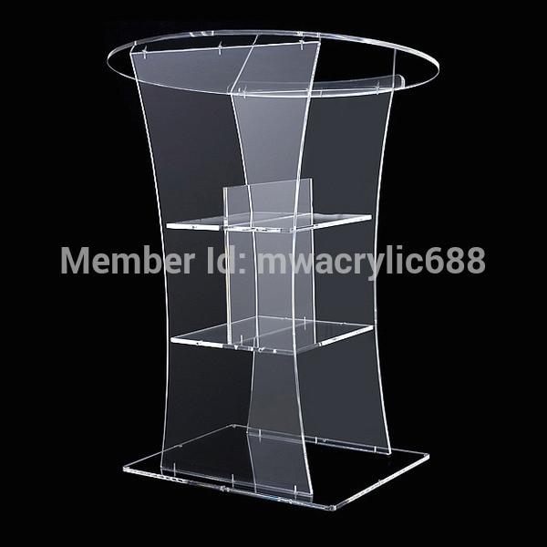 Free Shipping Transparent Modern Design Cheap Clear Acrylic Lectern Podium