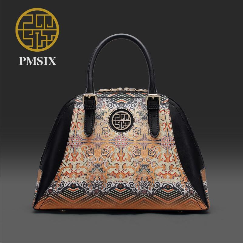Genuine Leather handbag Pmsix 2016 new fashion shoulder Messenger font b Bag b font Ethnic wind