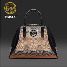 Genuine Leather handbag  Pmsix 2016 new fashion shoulder Messenger Bag Ethnic wind handbag Chinese wind shell package