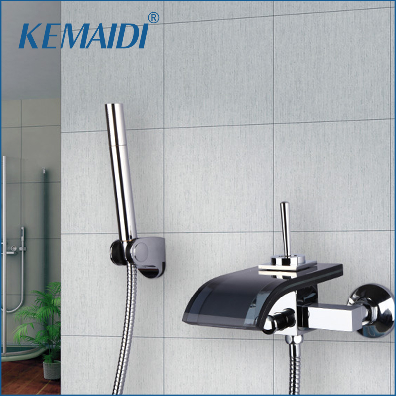 KEMAIDI Bathroom Faucets Construction Chrome Black Glass Spout Waterfall Bathroom Bath & Shower Faucet  With Hand Tap sognare new wall mounted bathroom bath shower faucet with handheld shower head chrome finish shower faucet set mixer tap d5205