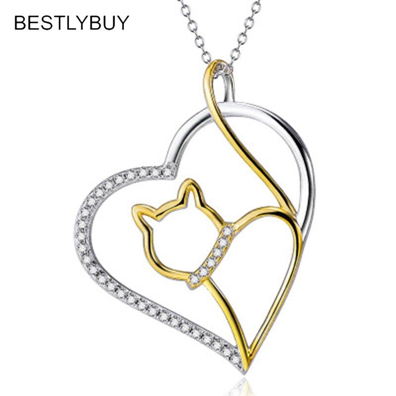 17ff97d85802 BESTLYBUY auténtica Plata de Ley 925 nueva moda Unisex gatos lindos en  forma de corazón colgante collar de cadena regalo de joyería
