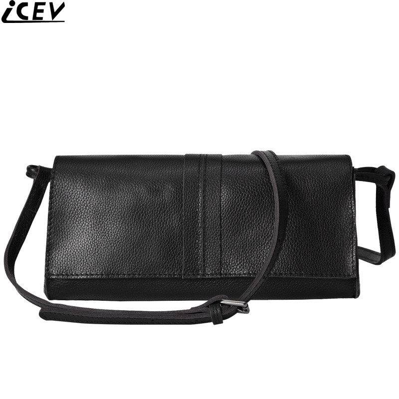 все цены на ICEV new top handle cow leather messenger bag small cover flap women shoulder bags soft genuine leather famous brand day clutch
