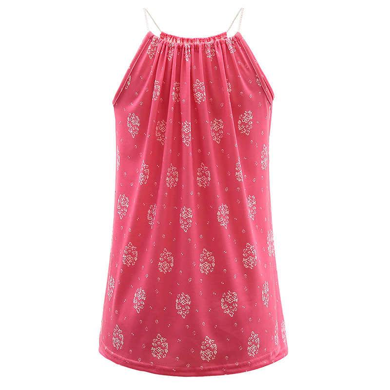 YRRETY/модные женские летние топы с цветочным принтом и v-образным вырезом; топы без рукавов на бретелях; однотонные топы белого и красного цвета; женская одежда; женские топы