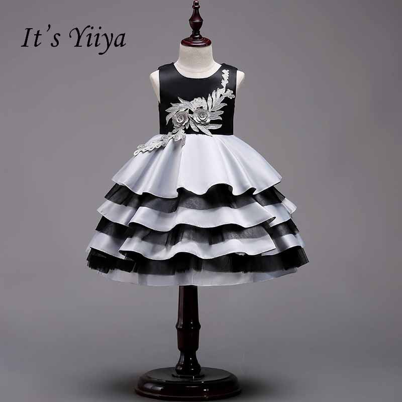 It's yiiya Zipper   Flower     Girl     Dress   Simple Kid Child Cloth Tiered Princess Ball Gown   Dress   For Party Wedding   Girl     Dresses   S235