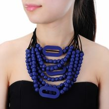 9 Color Fashion Bohemian Necklace Boho Beads Necklace For Women Multi Layer Necklaces Statement Gift Blue Red Black Rope(China)