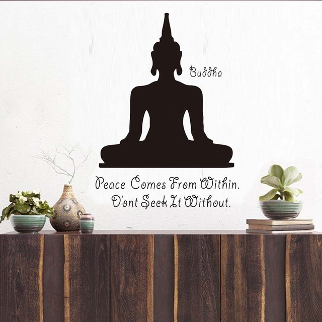 Peace Comes From Within Buddhism Aphorism Quotes Wall Decal Art Yoga  Meditation Pose Buddha Wall Sticker