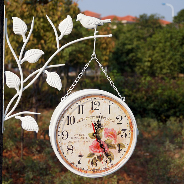 Unique Gift  Retro Metal Home Decorative Rotated Antique  Double Faced Wall clock Vintage Clock