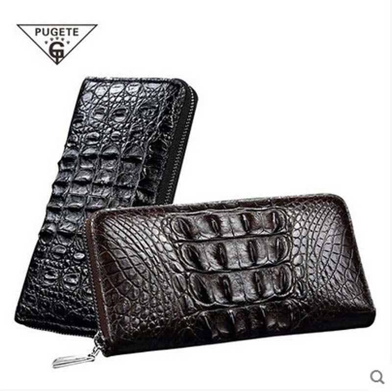 pugete Pure crocodile Zipper men wallet men's crocodile real leather man's clutch bag large capacity business handbag
