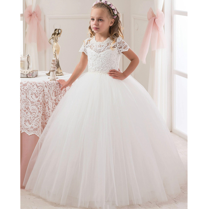 Short Sleeve Lace Holy Communion Dresses White Tulle Ball