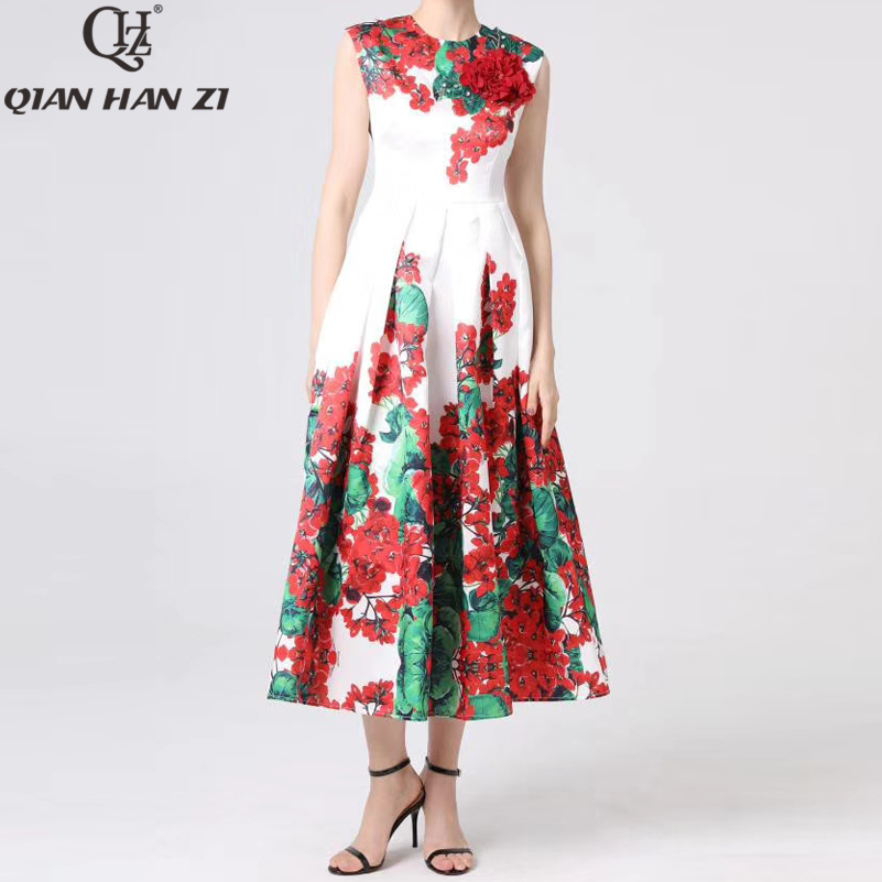Kadın Giyim'ten Elbiseler'de Qian Han Zi Tasarımcı Pist Maxi elbise kadın Kolsuz Vintage Çiçek Baskı Ince Aplike Zarif uzun elbise 4XL Artı Boyutu'da  Grup 2
