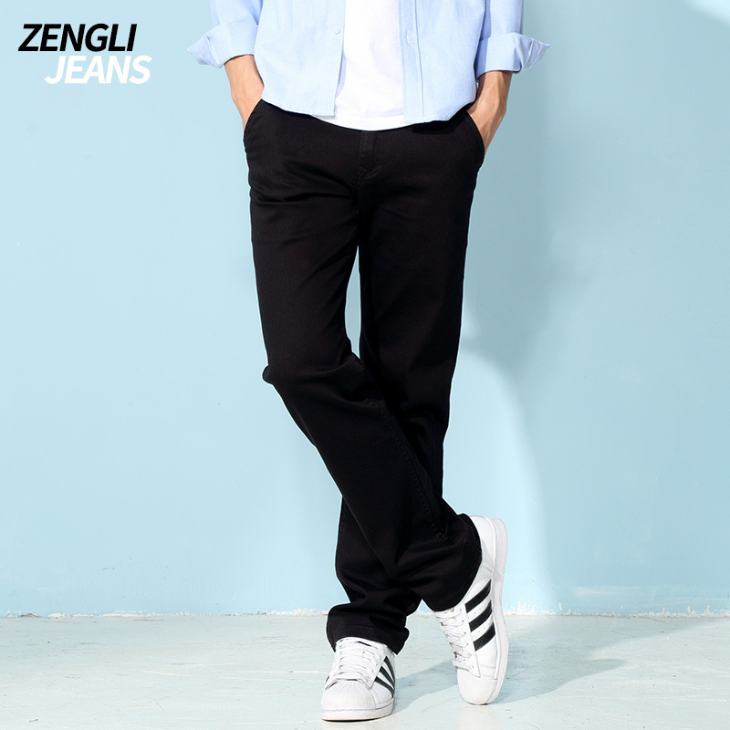 ZENGLI Spring Summer Mens Denim Loose Fit Straight Jeans Pants Thin Black Blue Classic Cowboy Trousers Large Plus Size 30~48