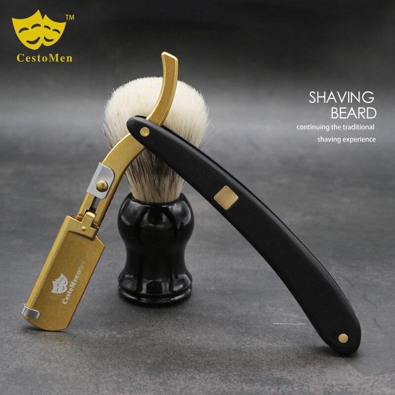 Professional Salon Barber Beard Shaving Razor Sandalwood Handle Barber Hair Knives Changeable Blade Shaving Knife Beard Tools