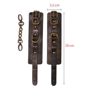 Brown Vintage Genuine Leather Handcuffs For Sex Bdsm Bondage Restraints Hand Cuffs Adult Games Sex Toys For Woman Couples 3