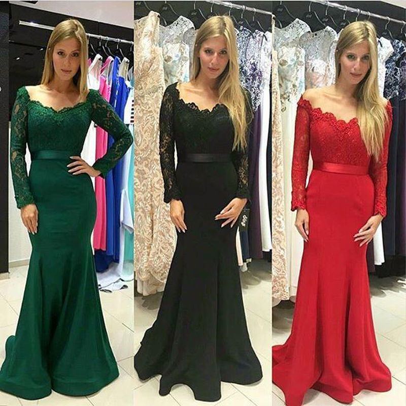 Fashion V Neck Lace Evening Prom Gown Long Sleeve Elegant Floor Length Formal Dress For Wedding Party